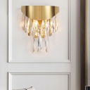 Gold 2 Bulbs Flush Mount Wall Light Modern Cut Crystal Teardrops Sconce Lighting