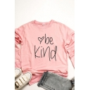 Classic Letter Be Kind Pattern Pocket Long Sleeve Crew Neck Relaxed Fit Tunic Tee Top for Women