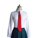 Preppy Looks White Shirt Long Sleeve Point Collar Slim Fit Shirt for Girls