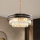 3 Layers Pendant Chandelier Modern Crystal Rectangle 9/11 Bulbs 18