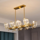 Shield-Shape Crystal Panel Ceiling Lamp Classic 8-Light Restaurant Island Lighting Fixture in Gold