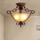 Traditional Bowl Semi Flush Light Fixture 3-Light Frosted Glass Ceiling Lamp with Wire Guard in Bronze
