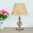 1-Light Barrel Shade Table Light Modern Beige Pleated Fabric Desk Lamp with Perfume Bottle Crystal Stand