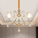 Curved Arm Metal Ceiling Chandelier Traditional 3-Bulb Parlour Pendant Lamp in Gold/Chrome with Cone Crystal Shade