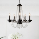 Black 5 Bulbs Chandelier Traditional Metal Candelabra Hanging Pendant with Cascading Glass Crystal Accents