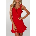 Hot Summer Ladies Solid Color Ruffle Trim Tie Front Open Back Zipper Sleeveless Scoop Neck Mini A-line Dress