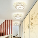 LED Corridor Flush Mount Light Fixture Simplicity Gold Ceiling Lamp with Round Crystal Shade in Warm/White/Blue Light