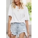Popular Womens Short Sleeve Round Neck Cut out Loose Fit T Shirt in White