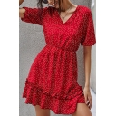 Pretty Ladies Polka Dot Printed Short Sleeve V-neck Ruffled Hem Short Pleated A-line Dress in Red