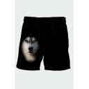 Trendy Mens 3D Relax Shorts Animal Roaring Wolf Moon Pattern Pocket Drawstring Straight Fit Mid Rise Mid Thigh Relax Shorts