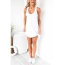 Leisure Plain Sleeveless Scoop Neck Mini Plus Sized Dress for Womens