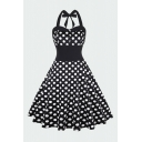 Novelty Womens Polka Dot Floral Print Pleated Button Sweetheart Neck Halter Sleeveless Backless Midi Fit&Flare Dress