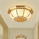 Colonial Bowl Flush Mount Lighting 3 Heads White Glass Flush Light Fixture in Brass