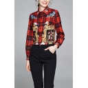 Pretty Ladies Flower Plaid Printed Long Sleeve Point Collar Button-up Regular Fit Shirt Top in Red
