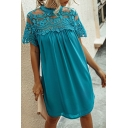 Novelty Chiffon Solid Color Lace Trim Patched Sheer Pleated Crew Neck Short Sleeve Short Swing Dress for Womens