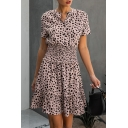 Unique Womens Dot Print Pleated Ruffle Cuff Button Stand Neck Short Sleeve Fitted Short A-Line Dress