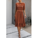 Cozy Girls Solid Color Pleated Ruffle Cuff Patched Lace Trim Short Sleeve Crew Neck Midi A-Line Dress
