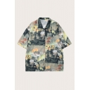 Vintage Oil Painting Patterned Short Sleeve Spread Collar Button up Oversize Shirt Top in Green