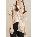 Allover Abstract Printed Short Sleeve Lapel Neck Button up Loose Fit Shirt in Yellow