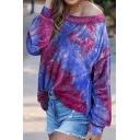 Popular Womens Tie Dye Printed Long Sleeve Drop Shoulder Loose Fit Pullover Sweatshirt