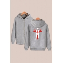 Chic Mens Hoodie Character Painting Zipper Fly Cuffed Regular Fitted Long Sleeve Hoodie