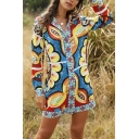 Novelty Womens Tribal Print Bow Tie Waist Button Up Turn-down Collar Long Sleeve Fitted Mini Shirt Dress in Blue