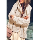 Chic Womens Solid Color Open Front Long Sleeve Cable Knit Loose Cardigan Coat Hooded Sweater