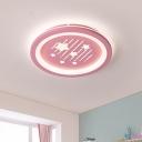 Acrylic Round Flush Ceiling Light Kids LED Flush Mount Lighting with Star Pattern in Pink, Warm/White Light