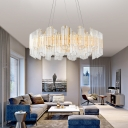 Clear Crystal Tube Hanging Chandelier Contemporary Creative Dining Room Chandelier