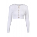 Hot Ladies Knitted Button Up Long Sleeve Crew Neck Slim Fit Crop Cardigan in White