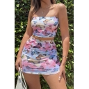 Popular Tie Dye All Over Butterfly Printed Spaghetti Straps Fit Crop Cami Top & Mini Tight Skirt Set