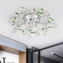 Clear Crystal Globe Semi Mount Lighting Modern 15 Bulbs Ceiling Light Fixture in Chrome with Spiral Design