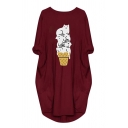 Leisure Cat Printed 3/4 Sleeve Round Neck Long Oversize Pullover Sweatshirt for Women