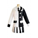 Fashionable White Colorblock Long Sleeve Hooded Jacket Point Collar Shirt Short Pleated Skirt Set for Girls