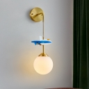 1 Bulb Brass Sphere Wall Lamp Kids Style Opal Glass Wall Mounted Light Fixture with Airplane Deco