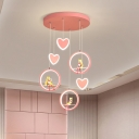 Blue/Pink LED Ring and Heart Drop Lamp Nordic Acrylic Multi Pendant with Cartoon Figure Design