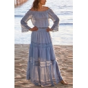 Popular Womens Hollow Out Patched Lace Long Sleeve Off the Shoulder Ruffled Maxi Pleated A-line Dress in Light Blue