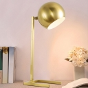 Colonial Spherical Reading Book Light LED Metallic Nightstand Lamp in Gold for Study Room