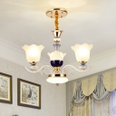 3/6 Heads Hanging Light Fixture Traditional Scalloped Frosted Glass Ceiling Suspension Lamp in White