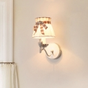 Fabric Conic Wall Mounted Light Modernist 1/2-Head White Wall Lighting Ideas with Bird Deco