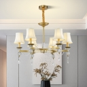Fabric Flared Shade Drop Lamp Postmodern 6/8 Lights Dining Room Chandelier Light in Gold with Crystal Accent