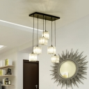 Modern Cubic Cluster Pendant 6-Head Clear Crystal Hanging Ceiling Light for Dining Room