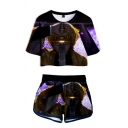 Unique Womens Cartoon Character Geometric 3D Printed Short Sleeve Crew Neck Loose Crop Tee & Contrasted Shorts Set