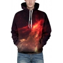 Simple 3D Hooded Sweatshirt Galaxy Nebula Pattern Pocket Drawstring Long Sleeve Regular Fitted Hoodie for Men