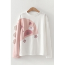 Lovely Girls Cartoon Embroidery Long Sleeve Crew Neck Relaxed Pullover Sweatshirt