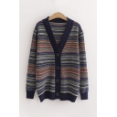 Leisure Womens Stripe Printed Long Sleeve V-neck Button up Knitted Loose Fit Cardigan