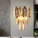 Mid Century 3 Tiers Wall Light Fixture 2-Bulb Crystal Prism Wall Mounted Lamp in Gold