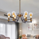 Black and Gold Bulb-Shape Chandelier Lighting Postmodern 6/8 Lights Clear Glass Ceiling Hang Fixture