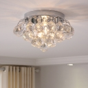 Clear Crystal Ball LED Flush-Mount Light Fixture Modern Style 2 Heads Ceiling Lighting for Hall