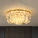 Circular Flush Mount Lighting Contemporary Crystal Prisms 3/5/6 Lights Clear Ceiling Lamp, 14